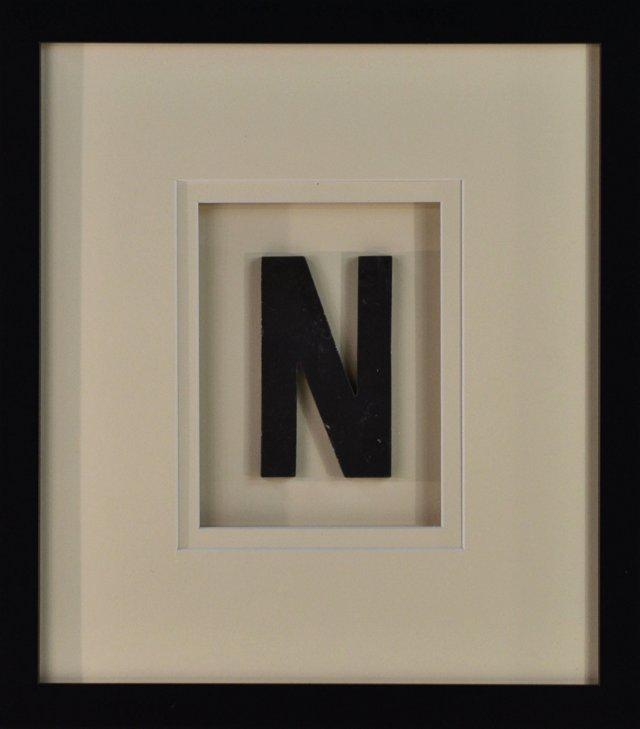 Framed Metal Letter N Sign
