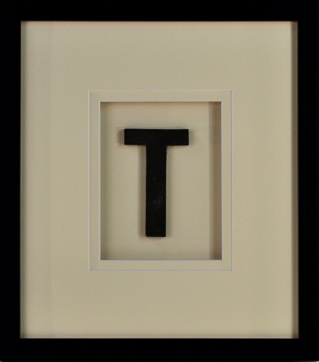 Framed Metal Letter   T Sign