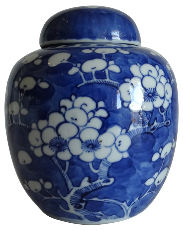 Antique  Blue & White Ginger Jar