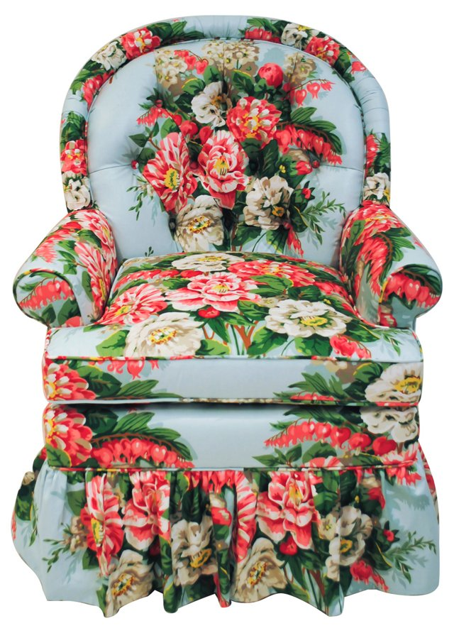 Floral Chintz Bedroom Chair w/ Tufting