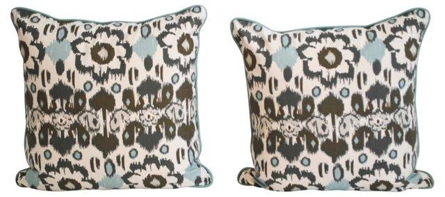 Gray & Aqua Ikat Pillows, Pair