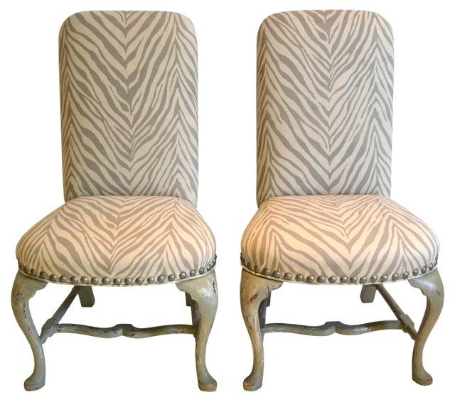 Neutral  Zebra-Print Chairs,  Pair