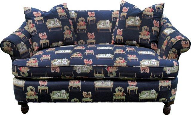 Dog-Print Upholstered Settee