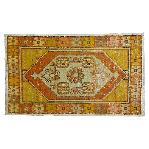 "Orange Anatolian Rug, 2'8"" x 4'3"""