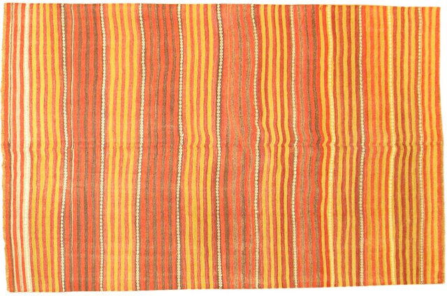 "Orange Anatolian Kilim, 8'4"" x 5'2"""