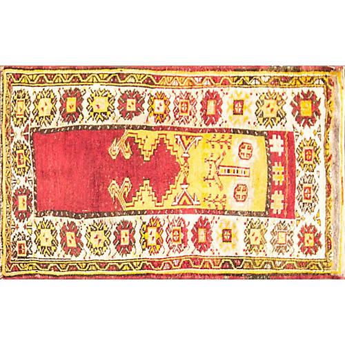 """Antique Oushak Rug, 3'3"""" x 4'5"""""""