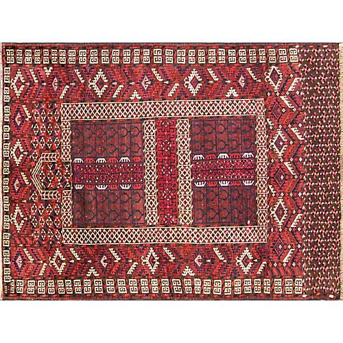 """Antique Tekkeh Turkoman Rug, 4'2"""" x 5'4"""""""