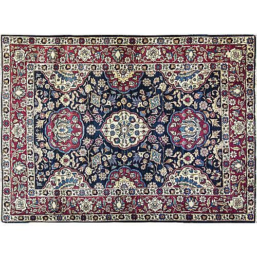 """Persian Tabriz Rug, 4'6"""" x 6'"""