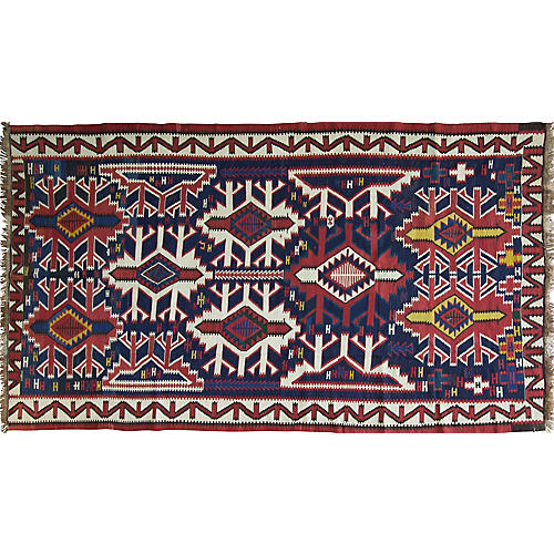 "Antique Kuba Kilim, 6'4"" x 11'"
