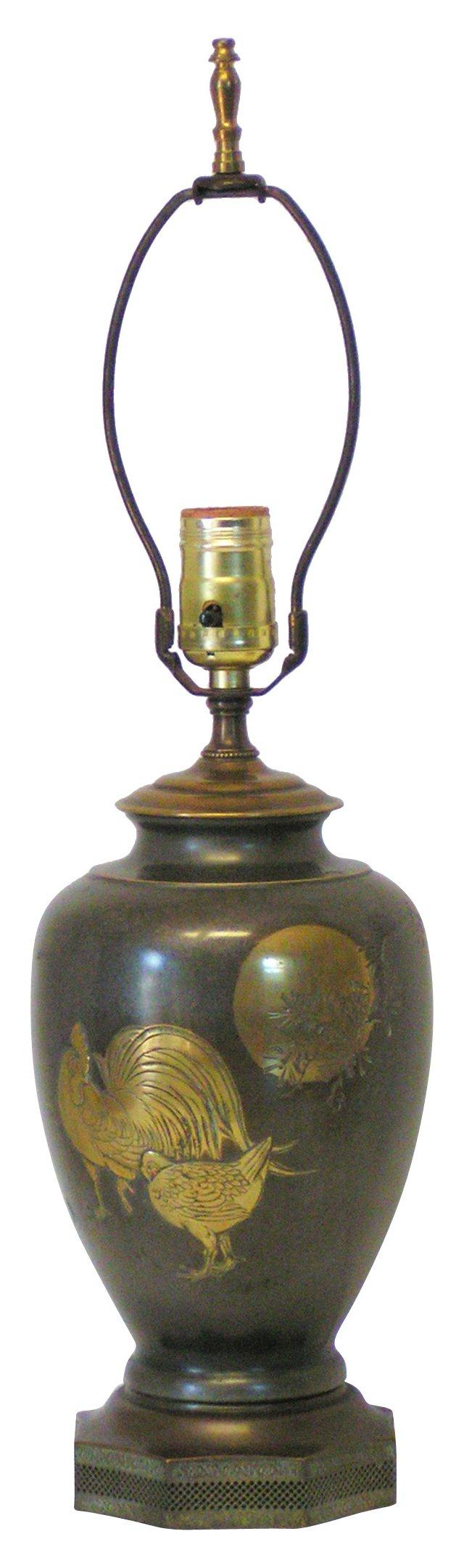 Japanese Bronze Relief Lamp