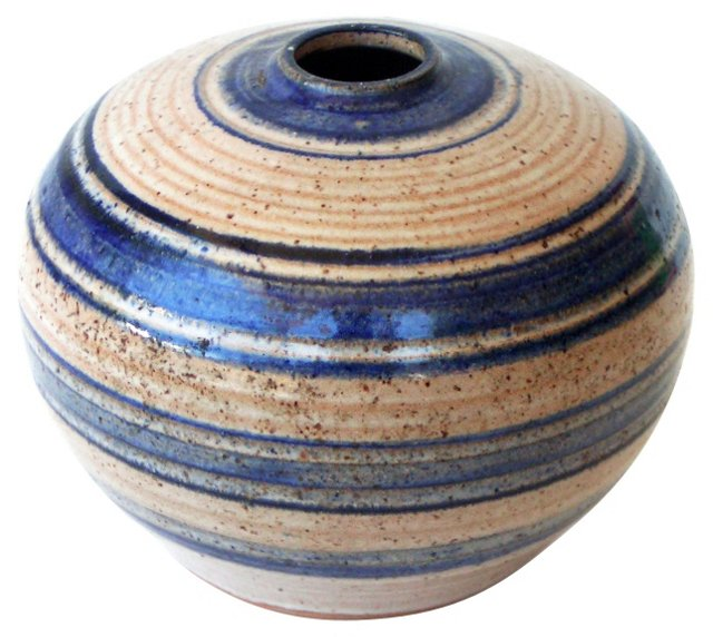 Horizontal Stripe Art Pottery Vase