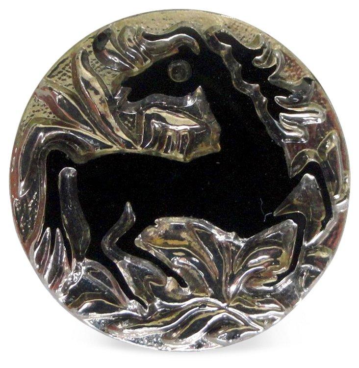 Art Nouveau Horse Glass Button