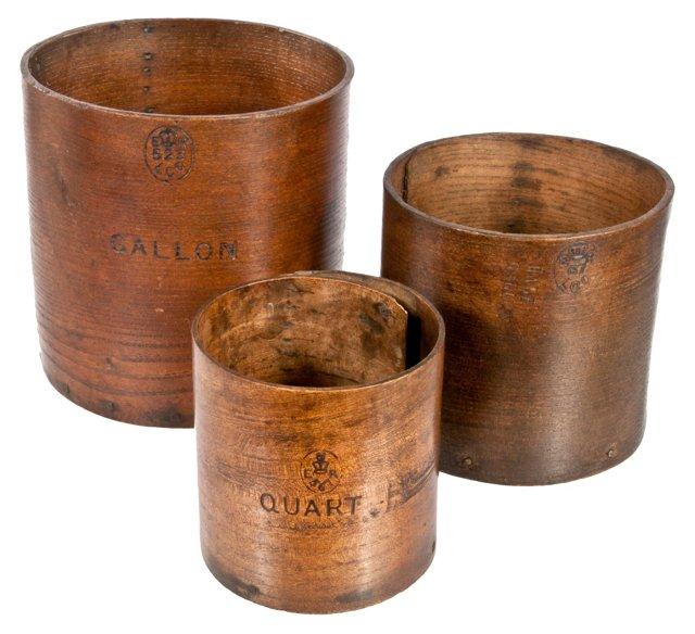 British Wood Dry     Measures, S/3