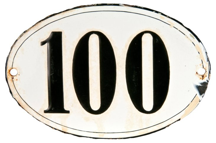 French Porcelain  House Number, 100