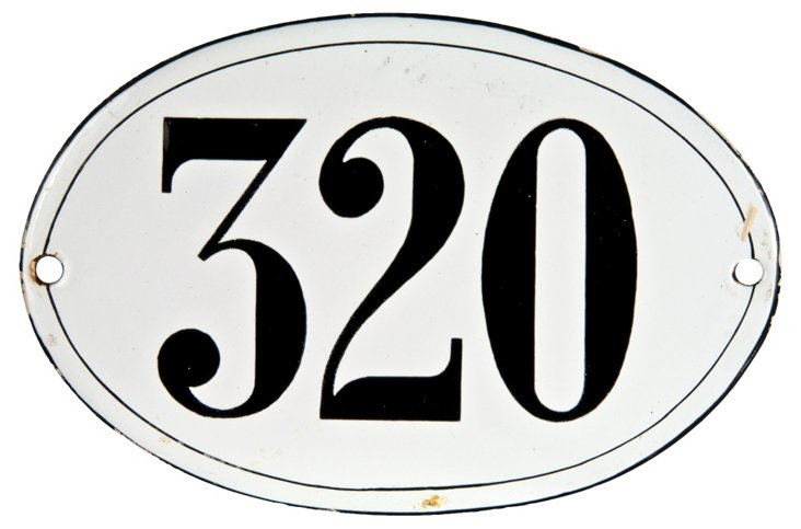 French Porcelain  House Number, 320