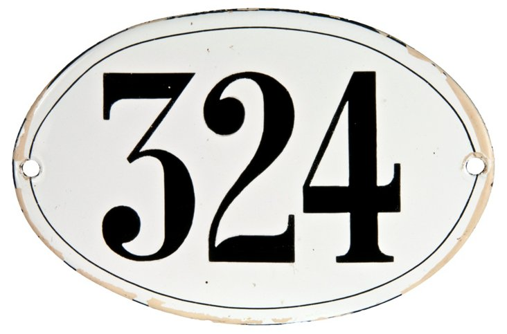 French Porcelain  House Number, 324