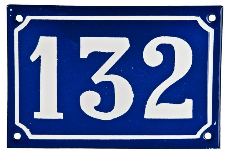 French Enamel House Number, 132