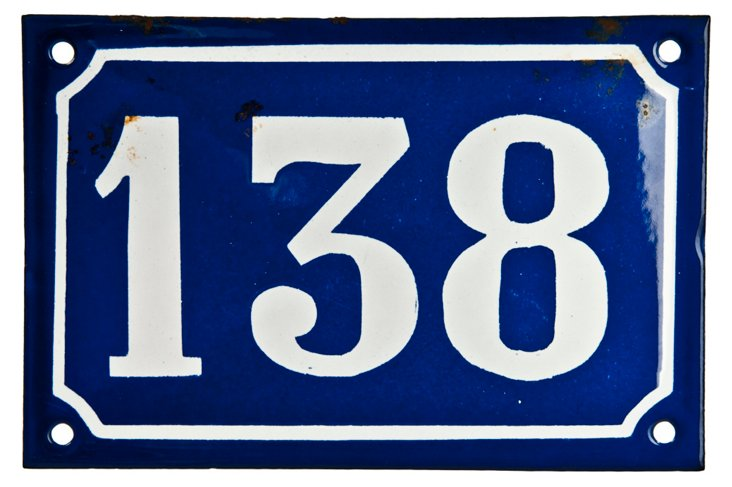 French Enamel House Number, 138