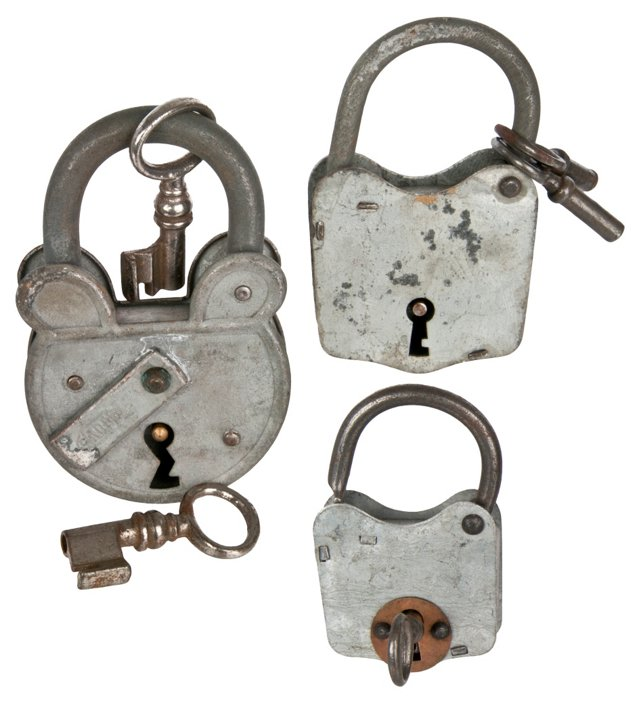 French Zinc Padlocks, Set of 3