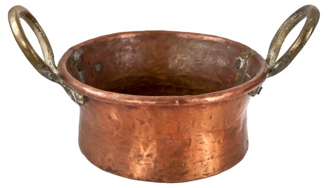 Hammered Copper Pot w/ Brass Handles