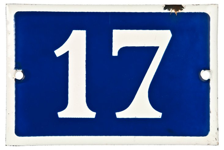 French Enamel House Number, 17
