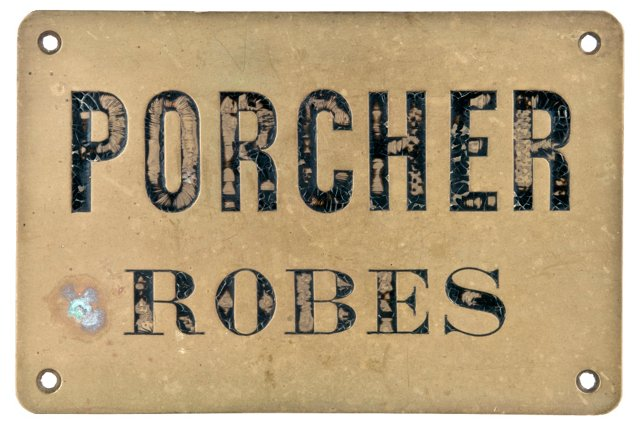 French Brass Porcher Robes Sign