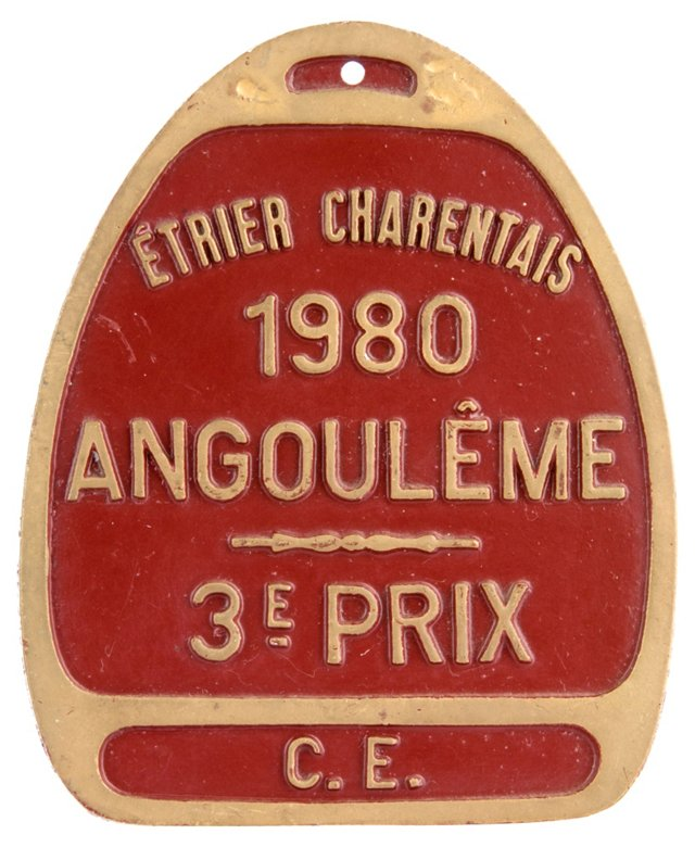 French Aluminum Prize Plaque, 1980