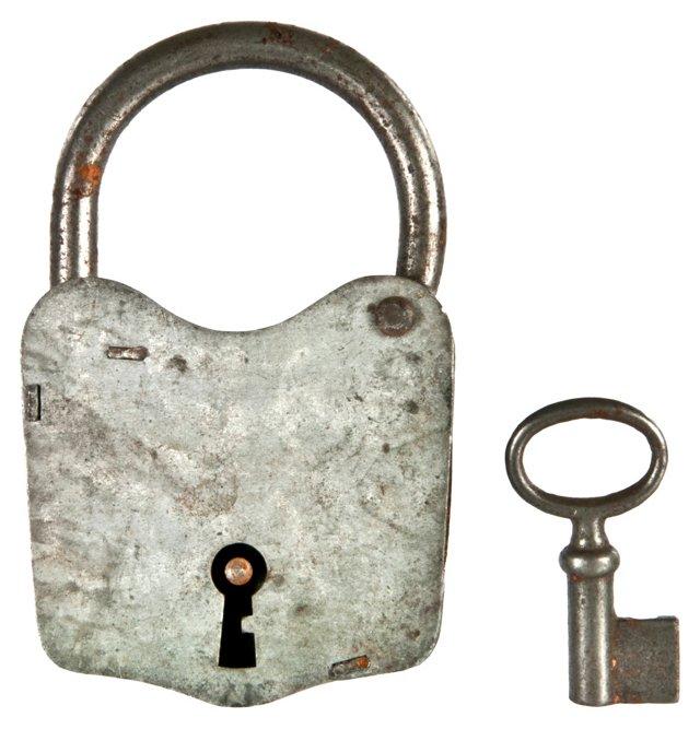 French Zinc Padlock w/ Key