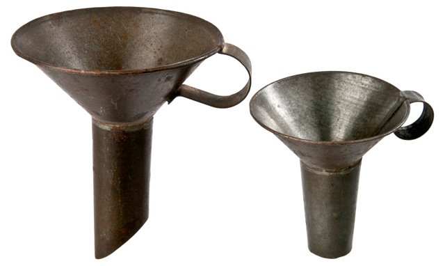 French Black Pudding Funnels, Pair