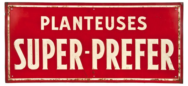 French Embossed Metal Sign
