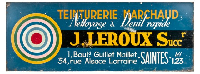 French Hand-Painted Toleware Sign
