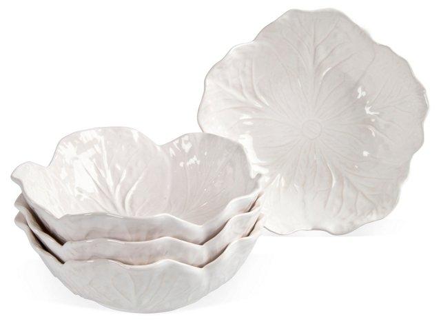 Majolica Cabbage Leaf Bowls, S/4