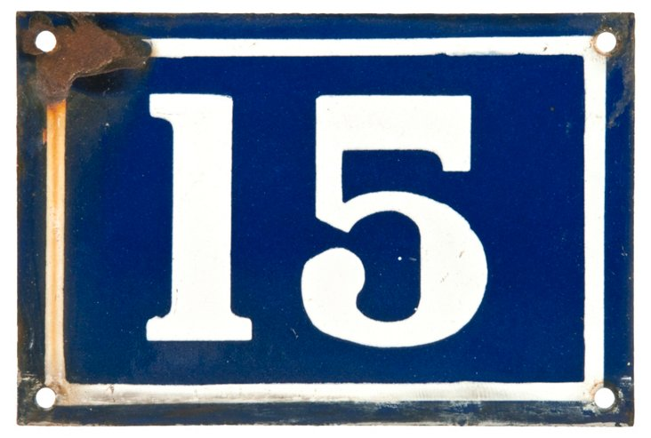 French  Enamel House Number, 15