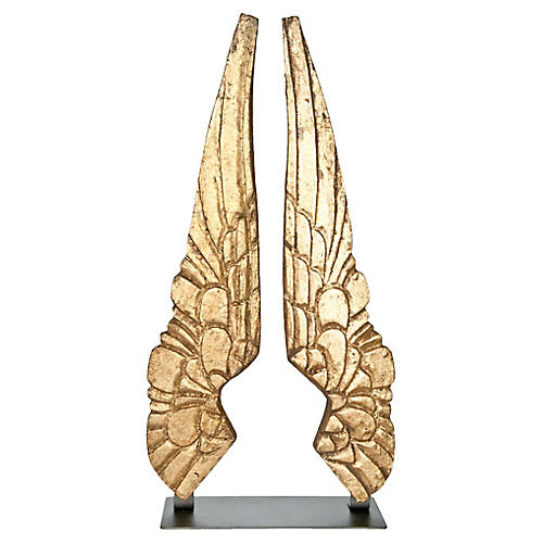 Hand-Carved Giltwood Wings, Pair