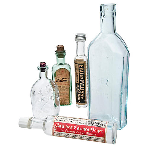 French Pharmacy Bottles, S/5