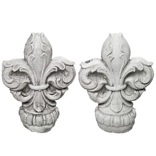Cast Concrete Fleur-de-Lis Finials, Pair