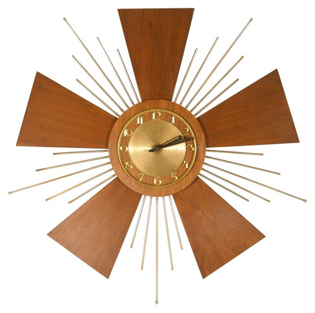 Midcentury Starburst Wall Clock
