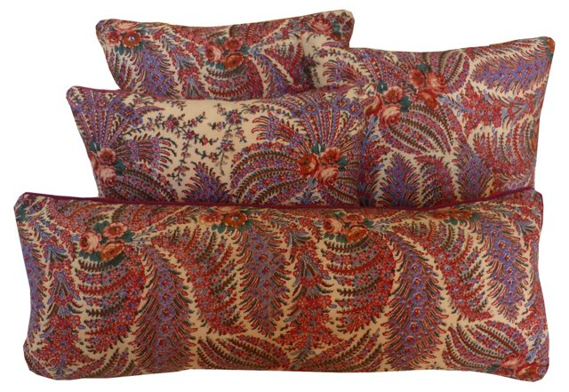 Wool Paisley Pillows, S/4