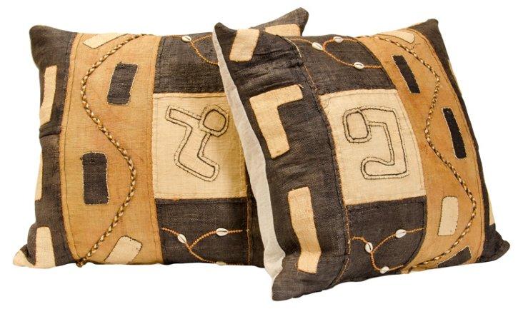African Kuba Textile Pillows, Pair