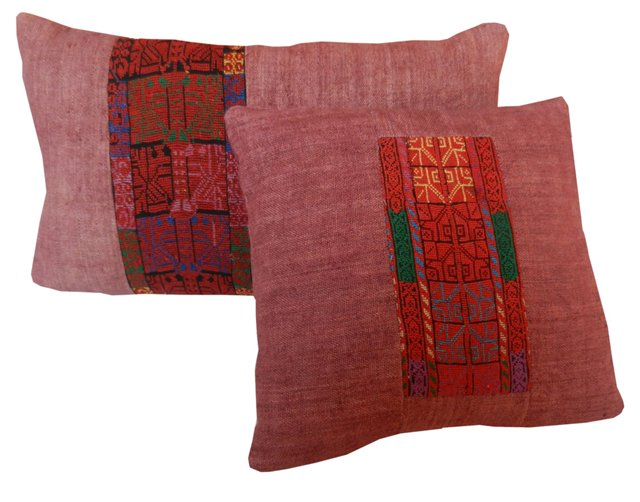 Bedouin Embroidery Pillows, Pair