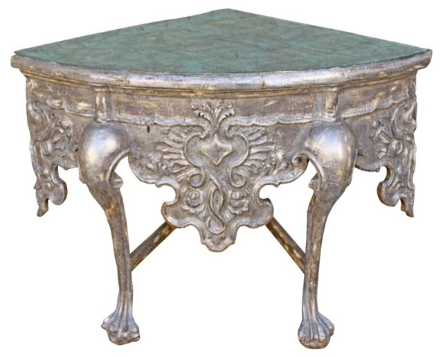 Italian Silver-Leaf Corner Table