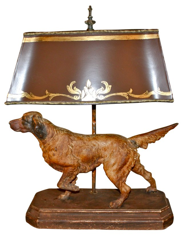 Dog Lamp w/ Parchment Shade