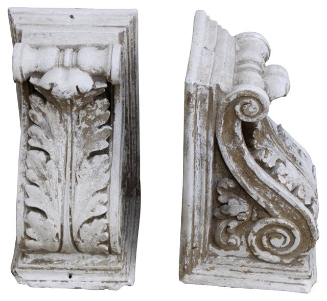 Painted White Corbels, Pair