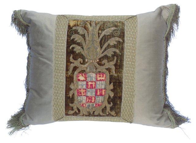 Embroidered Metallic & Silk Pillow