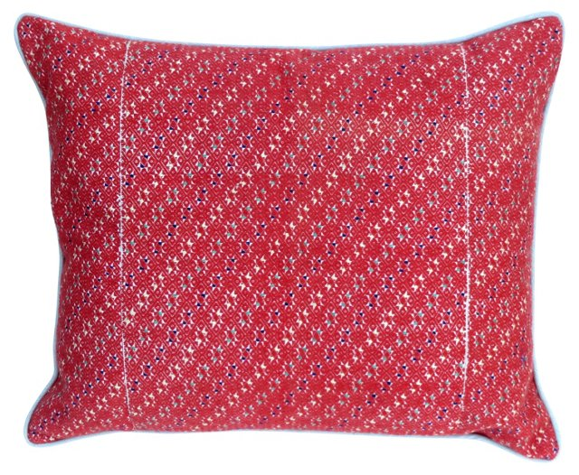 Red Handwoven Textile   Pillow