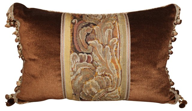 Copper & Gold Antique Tapestry  Pillow