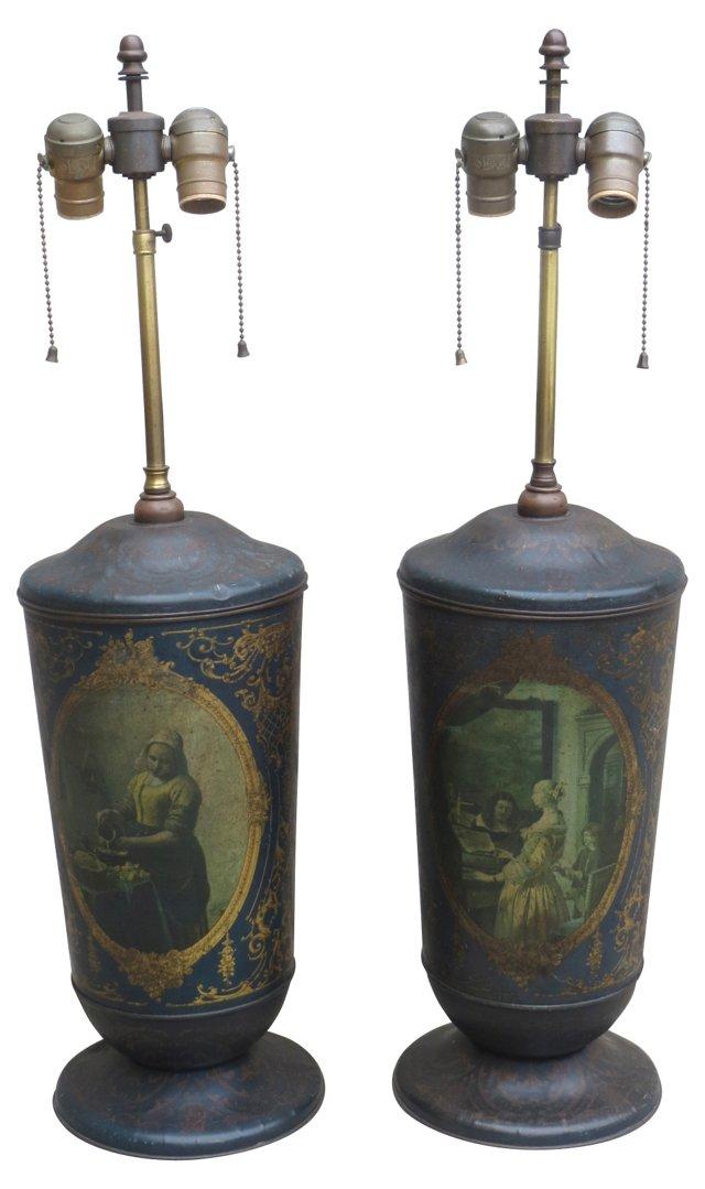 Tole Lamps w/ Figural Scenes, Pair