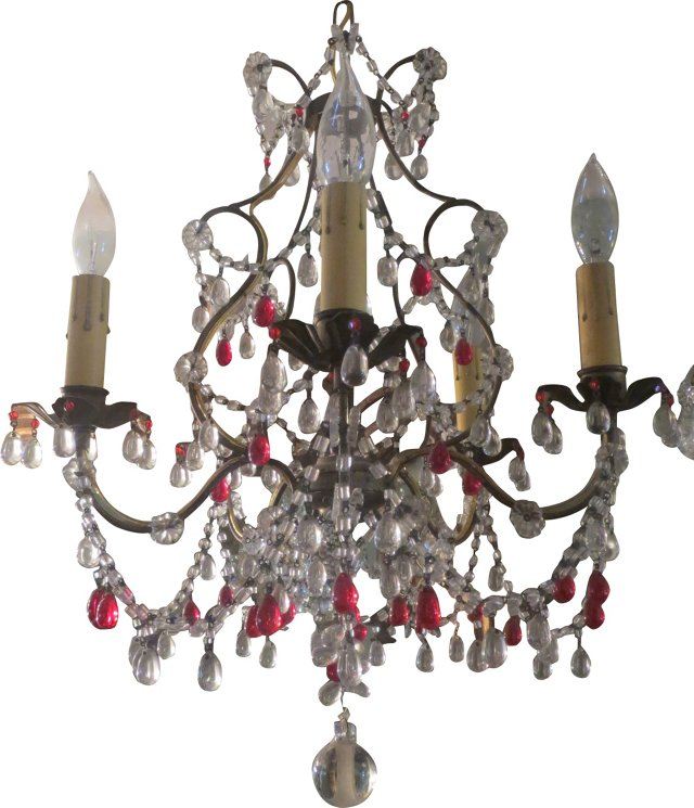 Red & Clear Crystal Chandelier