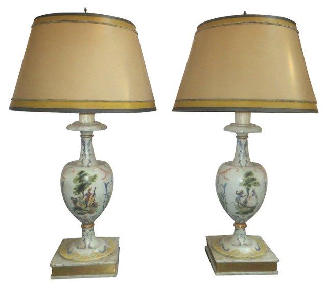 Painted & Parcel-Gilt Lamps, Pair