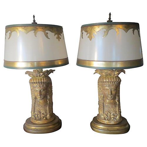 1930s Italian Giltwood Lamps, Pair